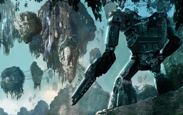 Фото обои горы, джунгли, пулемет, Avatar, Аватар, экзоскелет, Пандора