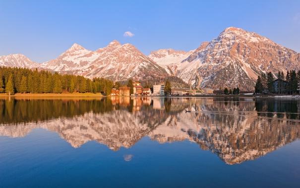Фото обои лес, горы, природа, озеро, отражение, дома, городок