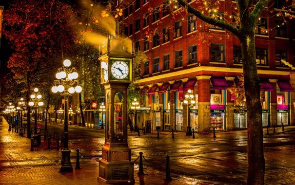 Фото обои ночь, город, улица, часы, фонари