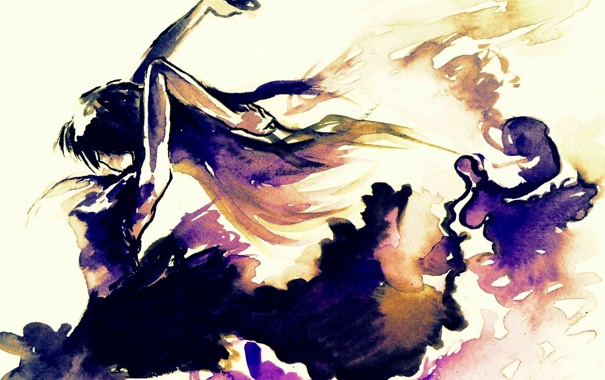 Фото обои цвета, девушка, краски, яркие, акварель, холст