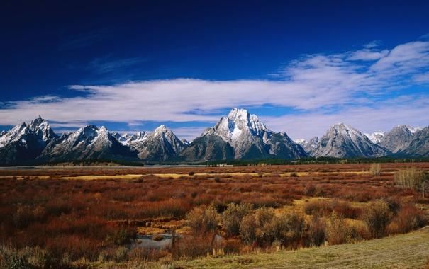 Фото обои поле, трава, горы, фото, обои, пейзажи, вид