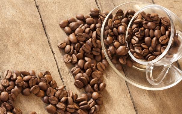 Фото обои зерна, coffee, beans, кофе, macro, чашка, cup