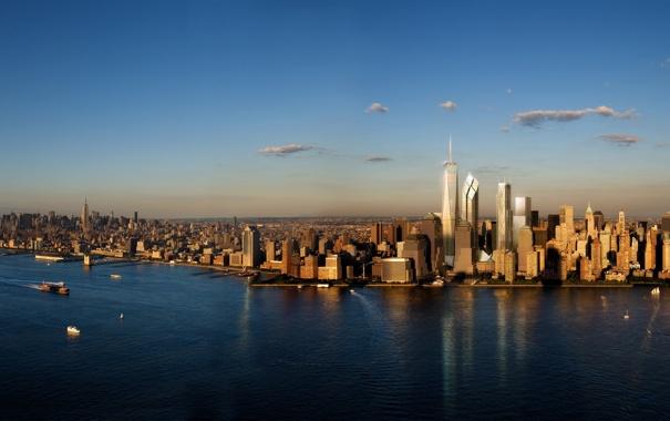 Фото обои город, рассвет, здания