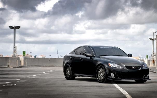Фото обои небо, облака, чёрный, Lexus, парковка, black, лексус