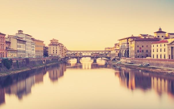 Фото обои вода, мост, город, река, фон, обои, здание