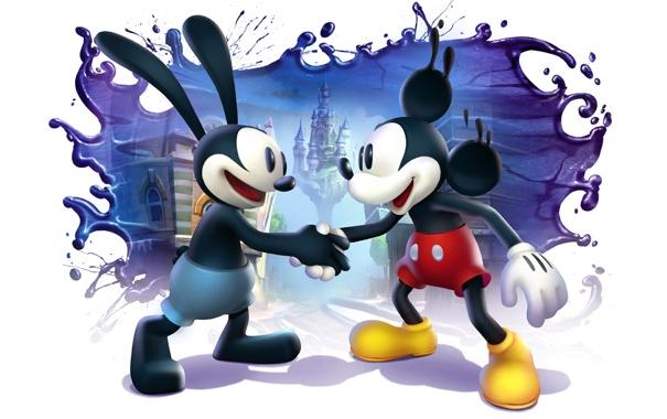 Фото обои замок, краски, белый фон, дисней, рукопожатие, Epic Mickey 2, The Power of Two