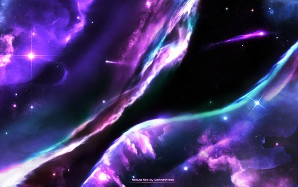 Фото обои космос, звезды, туманность, deviantart, Nebula Sea, DarknesFreak