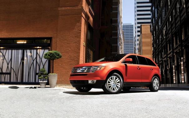 Фото обои машины, город, дома, ford, форд, edge, авто обои