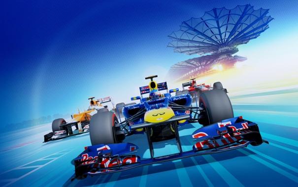 Фото обои машина, трасса, гонки, Формула 1, Red Bull, стадион, болиды