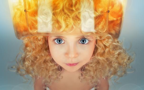 Фото обои глаза, взгляд, ребенок, девочка, кудри