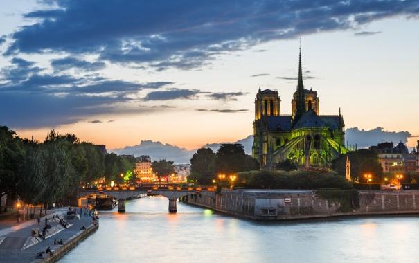 Фото обои мост, огни, река, Франция, Париж, вечер, Сена