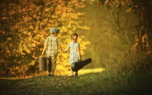 Фото обои лес, любовь, дети, парк, мальчик, дружба, пара