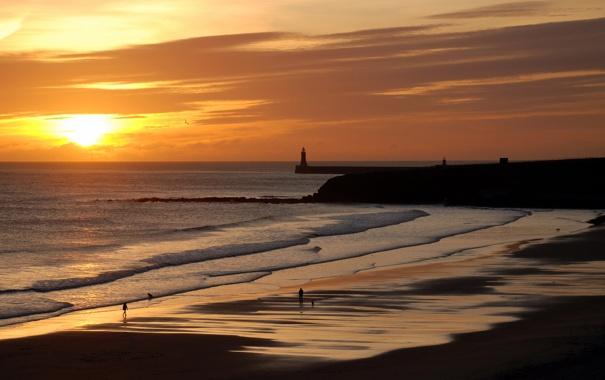 Фото обои море, пляж, небо, пейзаж, закат