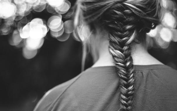 Фото обои волосы, прическа, черно-белое, коса