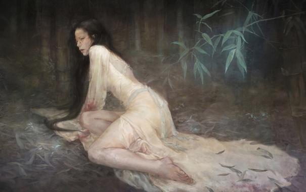 Фото обои листья, кровь, арт, длинноволосая, нарисованная девушка