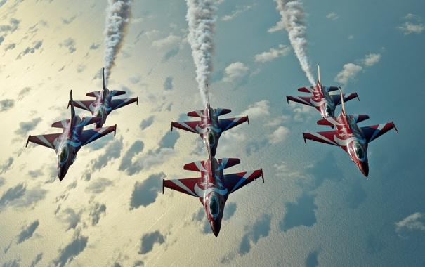 Фото обои группа, полёт, F-16, Fighting Falcon, пилотажная, ВВС Сингапура, Чёрные Рыцари