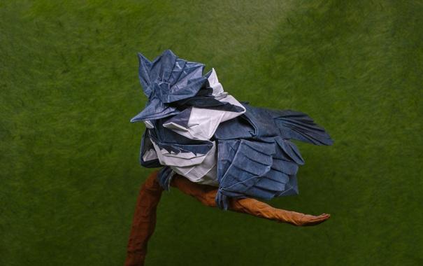 Фото обои бумага, птица, оригами, фон