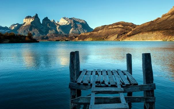 Фото обои горы, мост, озеро