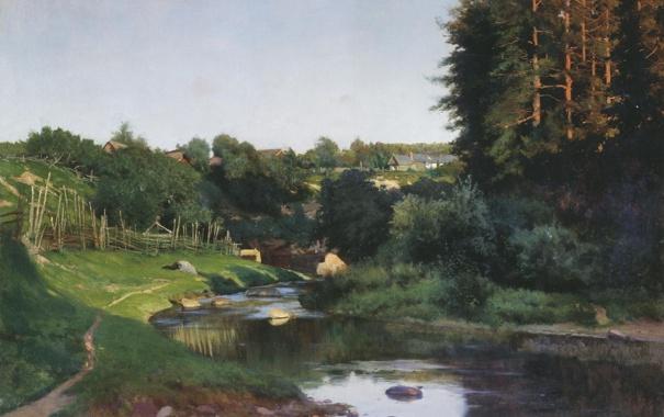 Фото обои картина, Крыжицкий, Деревня на берегу речки