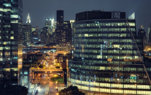 Фото обои ночь, огни, нью-йорк, night, New York City, usa, manhattan