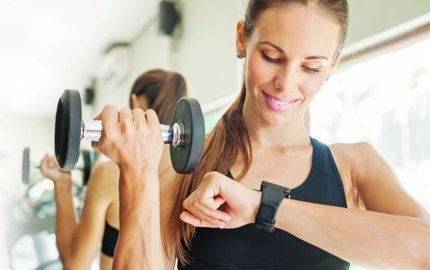 Фото обои clock, fitness, dumbbell
