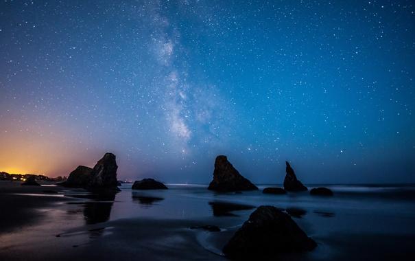 Фото обои пляж, lights, фары, Млечный путь, USA, США, beach