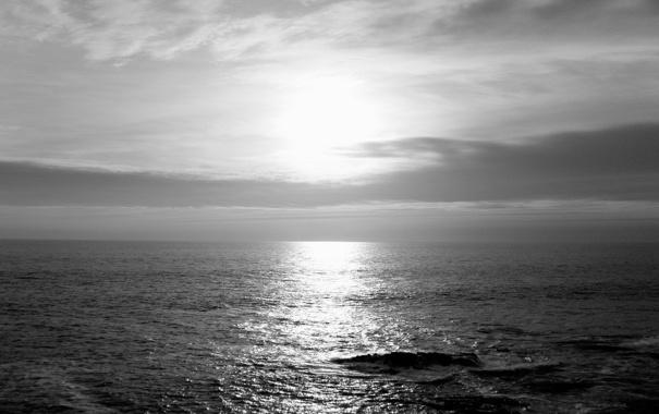 Фото обои море, волны, небо, вода, солнце, облака, пейзаж