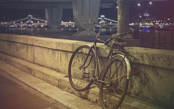 Фото обои велосипед, камень, фильтры