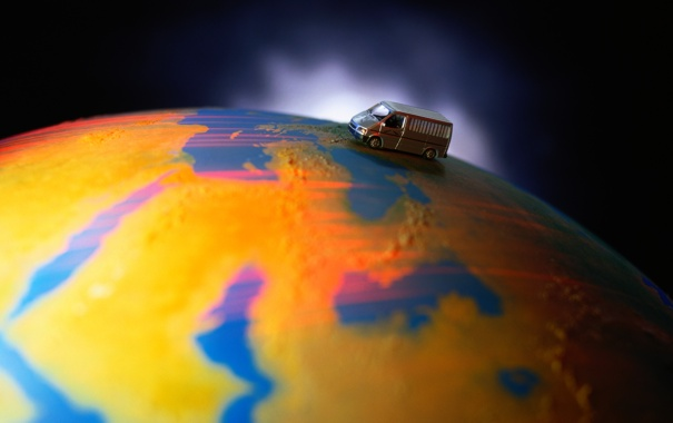 Фото обои креатив, земля, планета, свечение, фургончик
