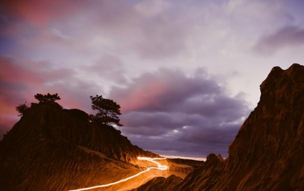 Фото обои закат, пейзаж, гора