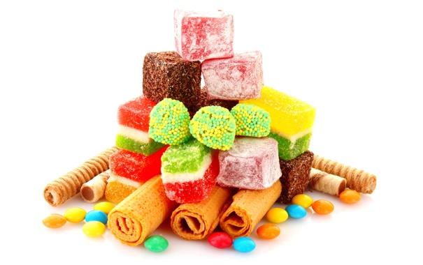 Фото обои вафли, candy, конфеты, colorful, sweet, сладости