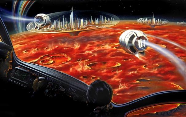 Фото обои космос, поверхность, города, фантастика, планета, космический корабль