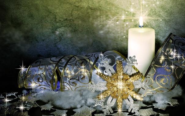 Фото обои украшения, обои, свеча, лента, снежинка, голубая, 1920х1080
