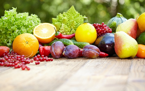 Фото обои слива, смородина, груша, фрукты, зелень, баклажаны, овощи