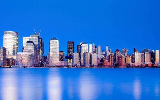 Фото обои небо, вода, небоскреб, дома, Нью-Йорк, США, Манхэттен