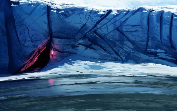 Фото обои холод, море, арт, факел, льдины, пещера