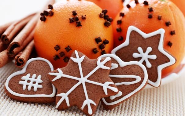 Фото обои снежинки, праздник, апельсин, печенье, сердечки, корица, фигурки