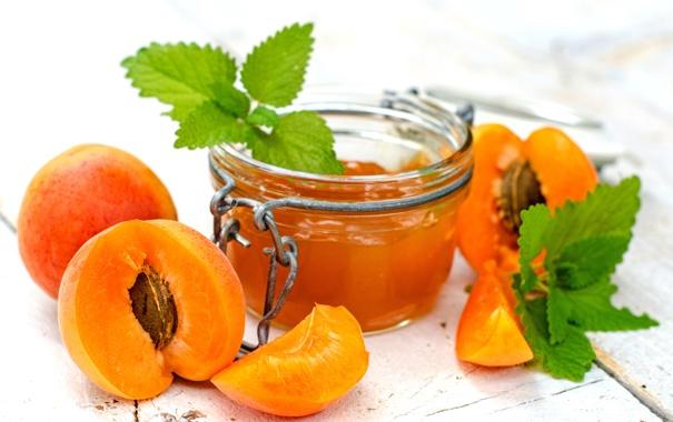 Фото обои варенье, абрикосы, джем, фрукты, абрикосовое, баночка