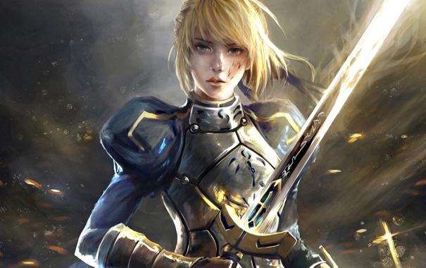 Фото обои девушка, меч, saber, anime, art, fate