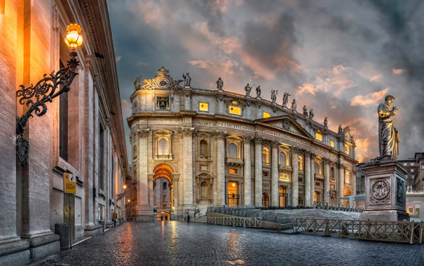 Фото обои собор Святого Петра, небо, облака, Рим, Ватикан, огни