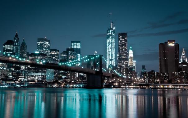 Фото обои мост, огни, река, дома, вечер, Manhattan, New York City