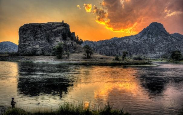 Фото обои закат, пейзаж, река, горы, рыбак