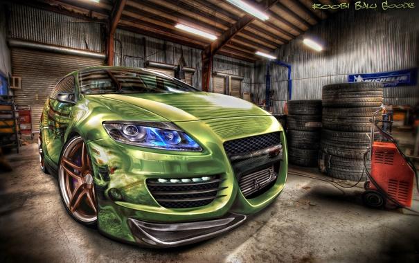 Фото обои HDR, гараж, Honda, CRZ, Fisheye