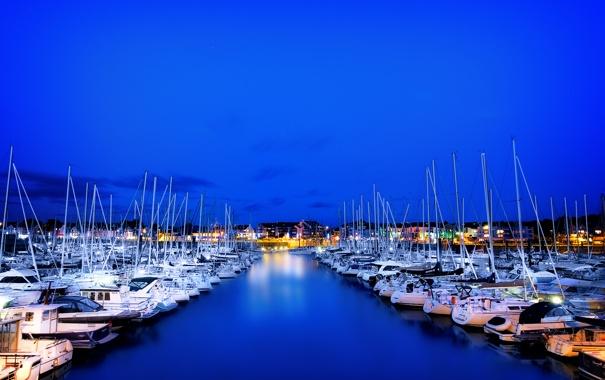 Фото обои гавань, небо, ночь, море, огни, лодки, яхты