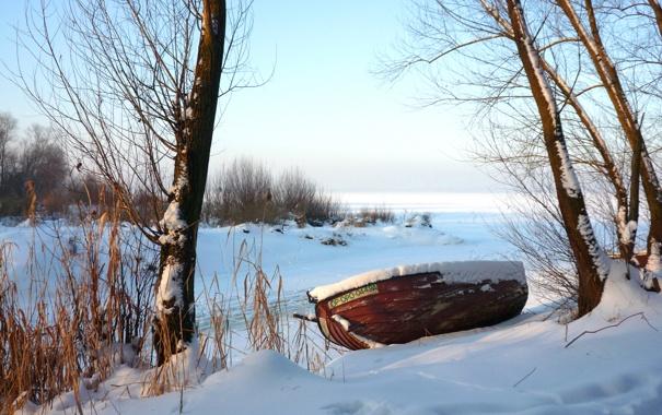 Фото обои зима, небо, снег, деревья, лодка