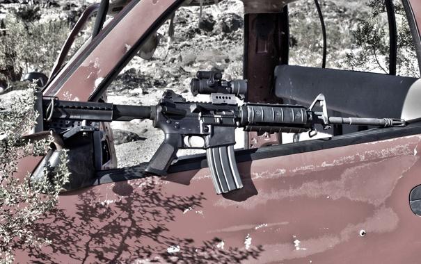 Фото обои машина, оружие, AR-15, штурмовая винтовка