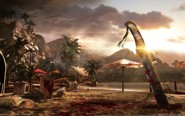 Фото обои море, пляж, облака, горы, пальмы, кровь, зонтики