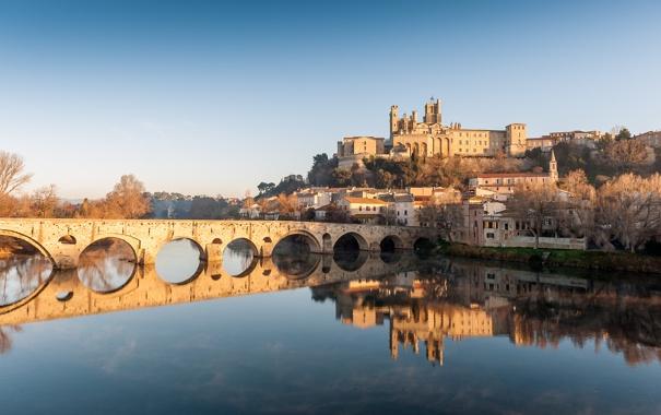 Фото обои пейзаж, отражение, река, Франция, здания, собор, France
