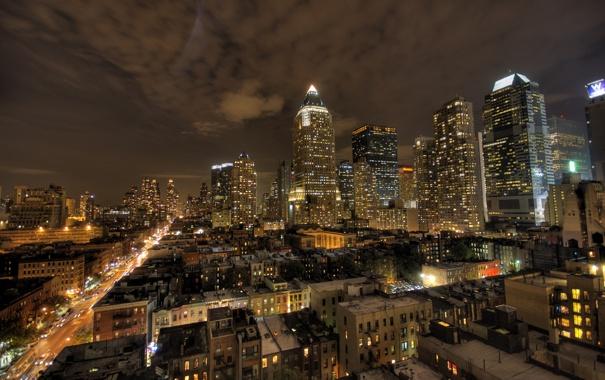 Фото обои свет, ночь, город, нью йорк, окнах