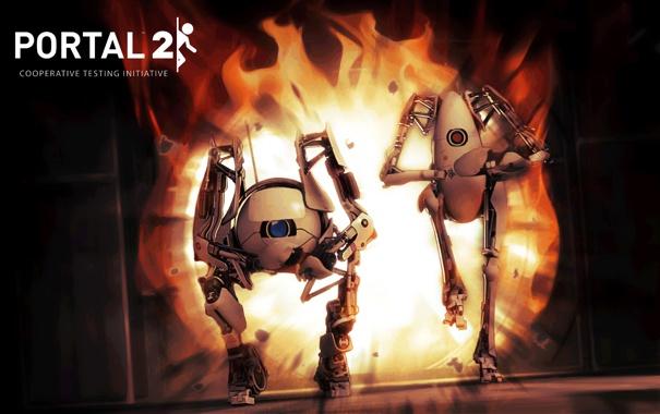 Фото обои Valve, Robots, Portal 2, Роботы, Огонь